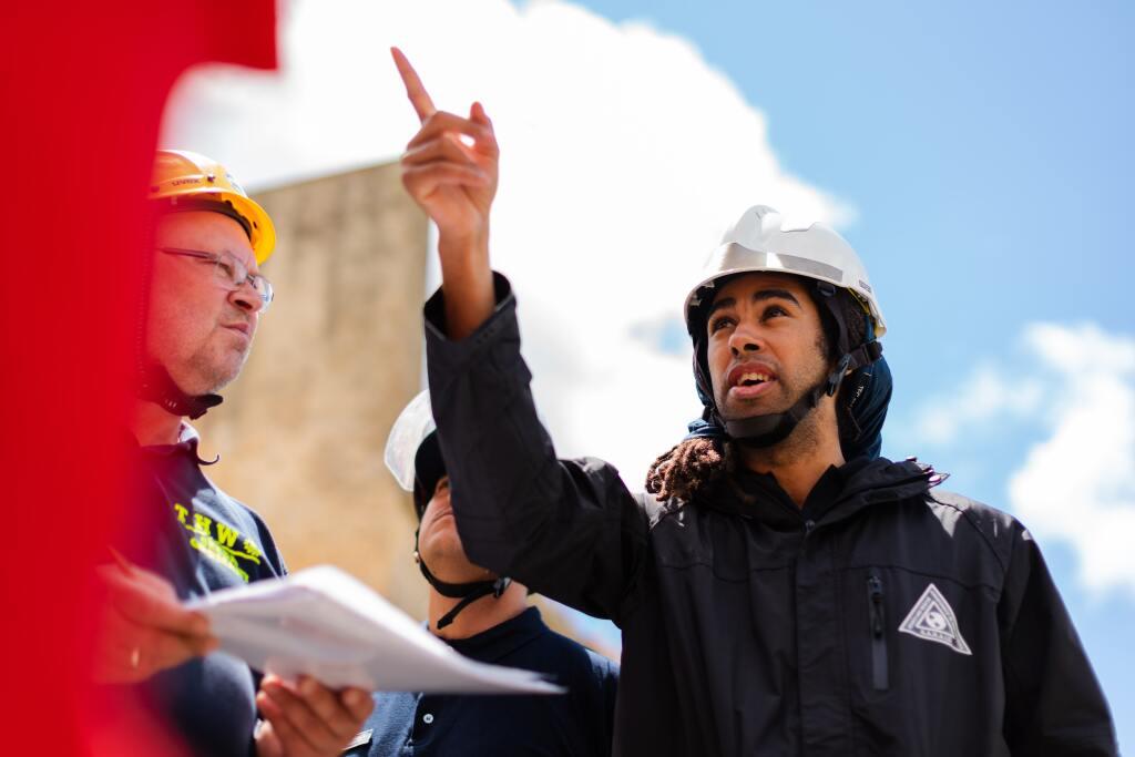 Man engineering on site